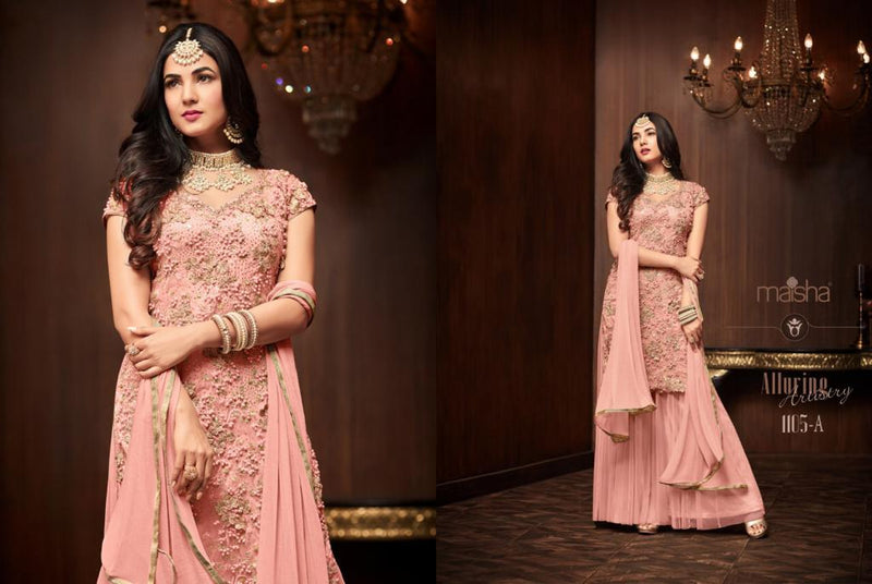 Heavy Football Net With Embroideri Siquence  And Moti Work Light Pink Colour Dress