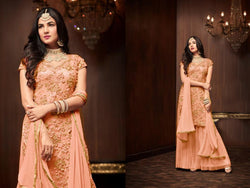 Heavy Football Net With Embroideri Siquence And Moti Work Metallic Copper Colour Dress