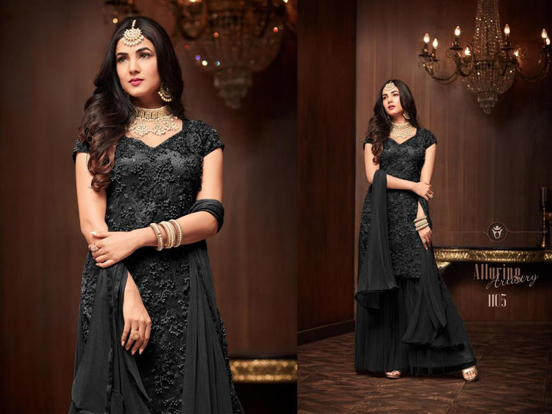 Heavy Football Net With Embroideri Siquence And Moti Work Black Colour Dress