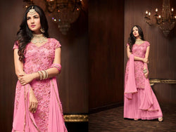 Heavy Football Net With Embroideri Siquence And Moti Work Pink Colour Dress