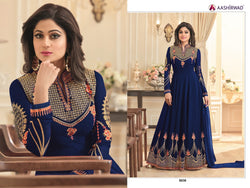 Fox Georgette With Embroidery And Diamond Work Blue Colour Gown