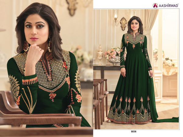 Fox Georgette With Embroidery And Diamond Work Hartford Green  Colour Gown