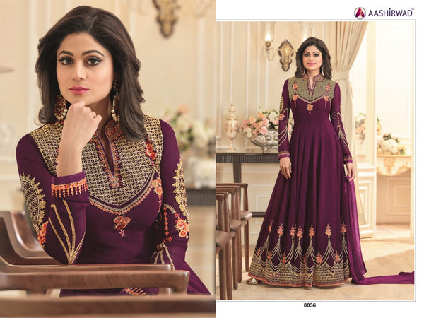 Fox Georgette With Embroidery And Diamond Work Dark Purpal Colour Gown
