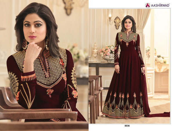 Fox Georgette With Embroidery And Diamond Work Maroon Colour Gown