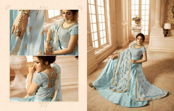 Heavy Slik Satin With Georgette With Embroidery work Skay Colour Gown