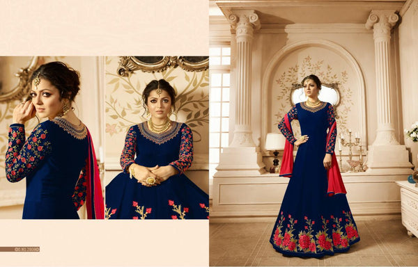 Heavy Georgette With  Embroidery work And  Stone Dark blue Colour Gown