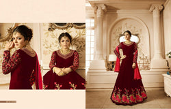 Heavy Georgette With Embroidery work And Stone Maroon Colour Gown