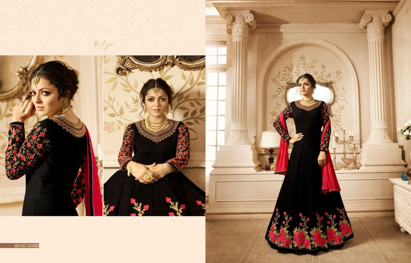 Heavy Georgette With Embroidery work And Stone Black Colour Gown
