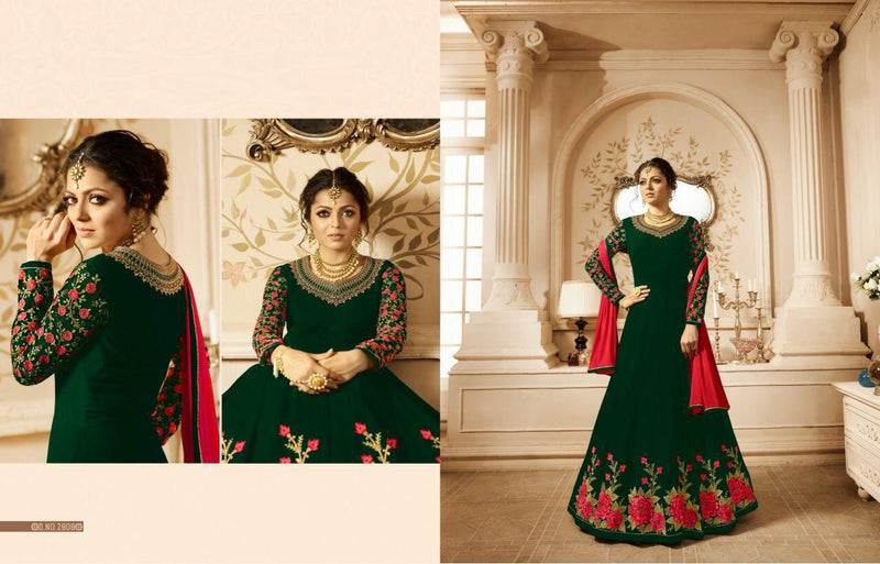 Heavy Georgette With Embroidery work And Stone Dark Green Colour Gown