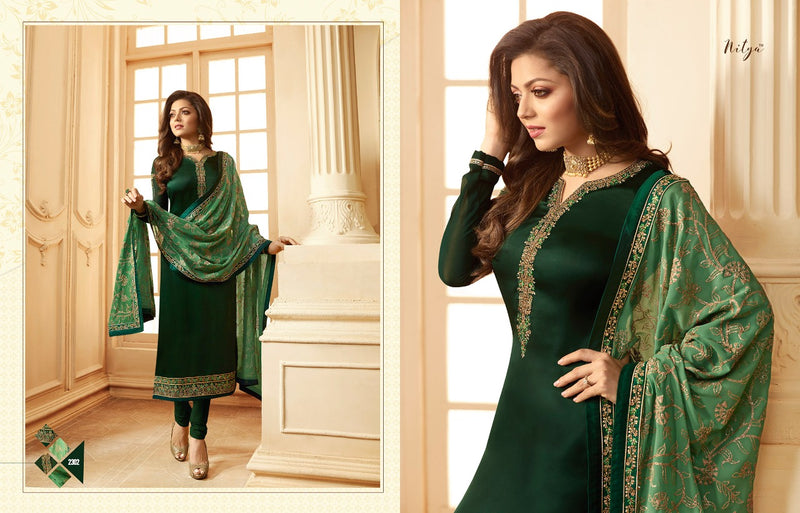 Multi fabric Satin Georgette with Embroidery work And Stone Work Dark Green Colour Dress