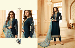 Multi fabric Satin Georgette with Embroidery work And Ston Deep Blue Sea Colour Dress