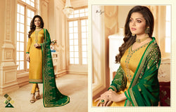 Multi fabric Satin Georgette with Embroidery work And Ston Light Yellow Colour Dress