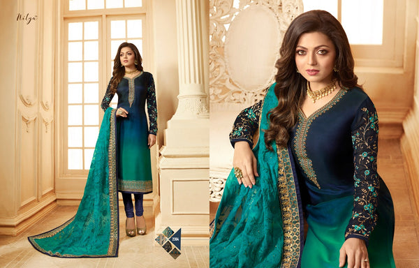 Multi fabric Satin Georgette with Embroidery work And Ston Island Blue And Dark Blue Colour Dress