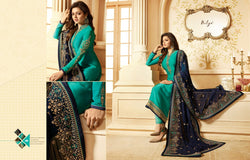 Multi fabric Satin Georgette with Embroidery work And Ston Island Blue Colour Dress