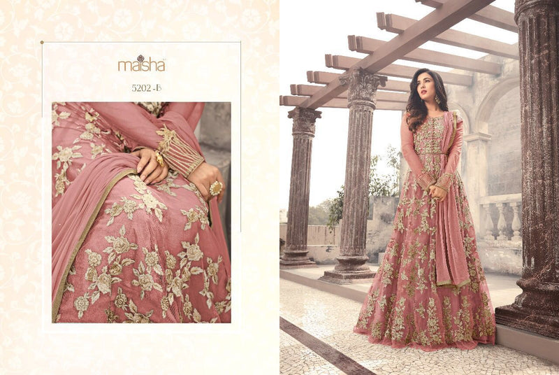 Heavy Net With Embroidery Work And Stone Work Light Pink Colour Gown