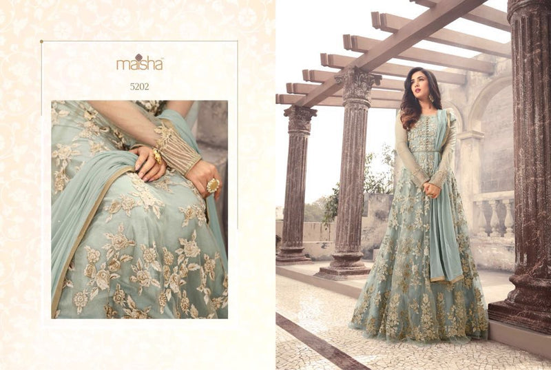 Heavy Net With Embroidery Work And Stone Work Light Skay Blue Colour Gown