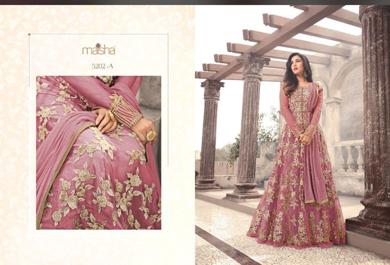 Heavy Net With Embroidery Work And Stone Work Pink Colour Gown