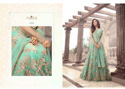 Heavy Net With Embroidery Work And Stone Work Light Island Blue Colour Gown