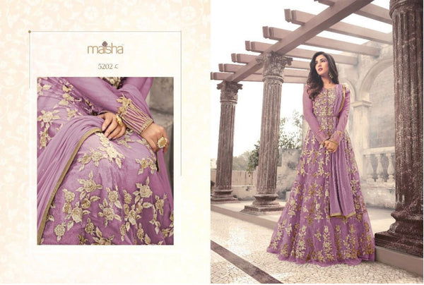 Heavy Net With Embroidery Work And Stone Work Light Purpal Colour Gown
