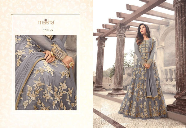 Heavy Net With Embroidery Work And Stone Work Gray Colour Gown