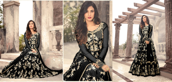 Heavy Net With Embroidery Work And Stone Work Black Colour Gown