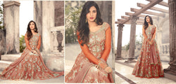Heavy Net With Embroidery Work And Stone Work Orange Colour Gown