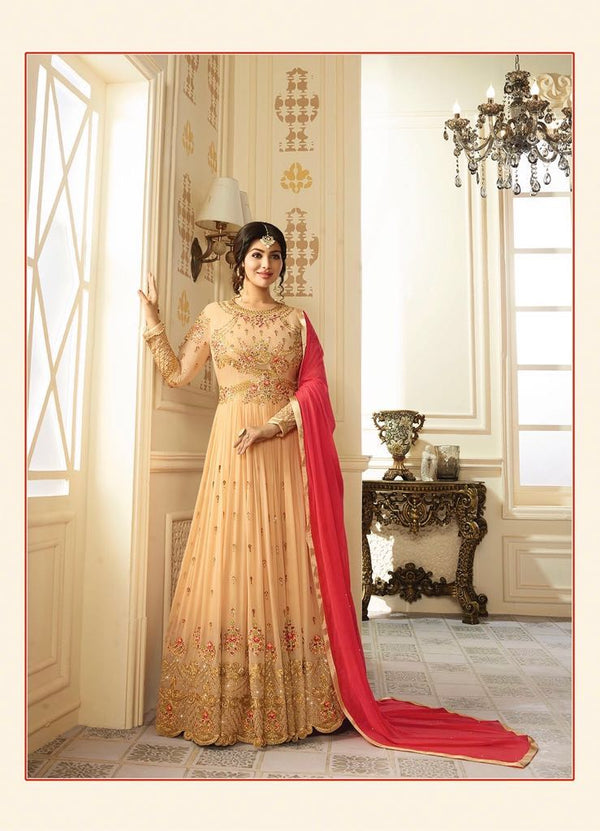 Georgette With Embroidery work And handwork Gown