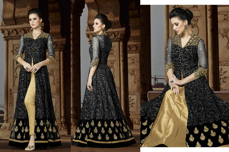 Heavy Net Butterfly With Chain Stiching Embroidery work Cording With Siquence And Stone Black Colour Gown