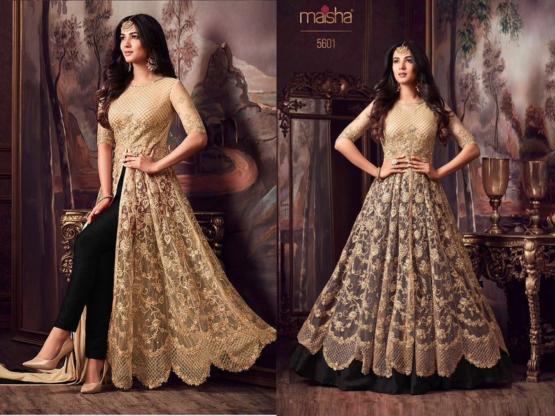 Net with Embroidery work And  Stone Work Burlywood And Black Colour Gown
