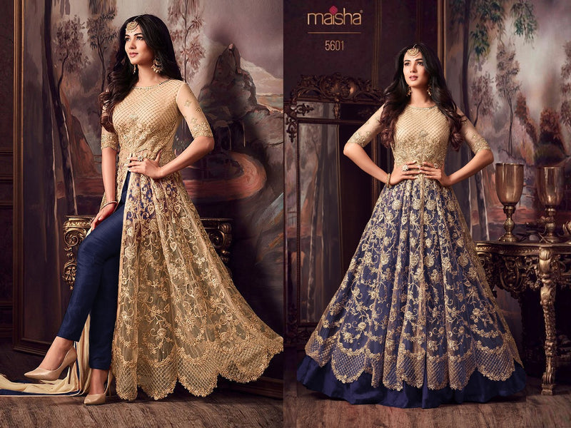 Net with Embroidery work And Stone Work Burlywood And Blue Colour Gown