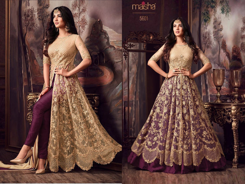 Net with Embroidery work And Stone Work Burlywood And Darkorchid Colour Gown