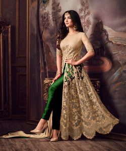 Net with Embroidery work And Stone Work Burlywood And Green Colour Gown