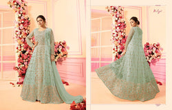 Embroidery Work With Net Slategray Colour Gown