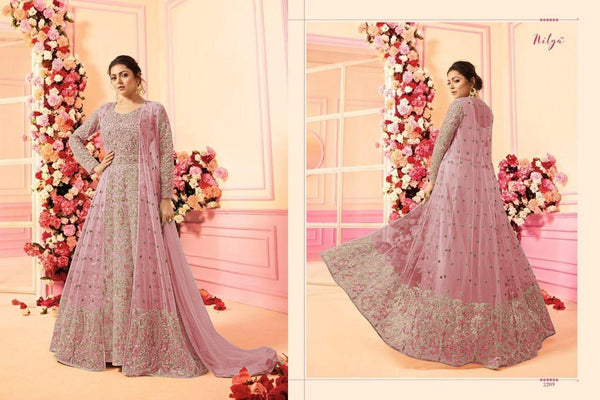 Embroidery Work With Net Light Pink Colour Gown