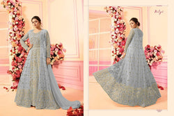 Embroidery Work With Net Light Gray Colour Gown