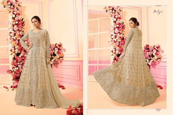 Embroidery Work With Net Light Peachpuff Colour Gown