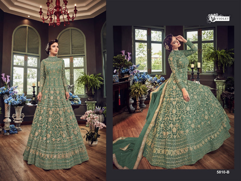 Net with Embroidery Codding With Sequence Work And Stone Work Medium Aquamarine Colour Gown
