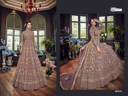 Net with Embroidery Codding With Sequence Work And Stone Work Medium Purpal Colour Gown