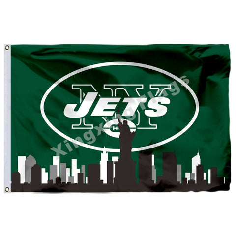 new styles 78ac2 5357c New York Jets With New York City Skyline Flag 3ft X 5ft Polyester NFL New  York
