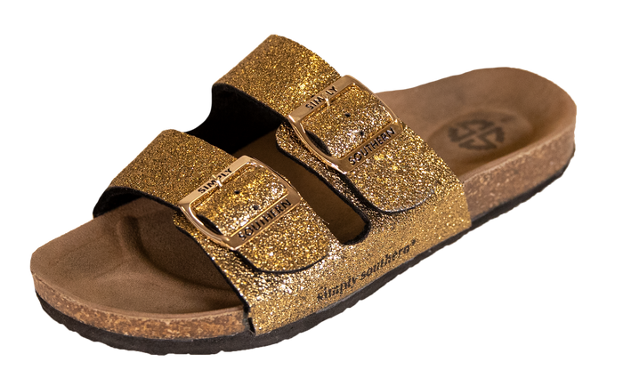 Simply Southern Collection Glitter Gold Sandals