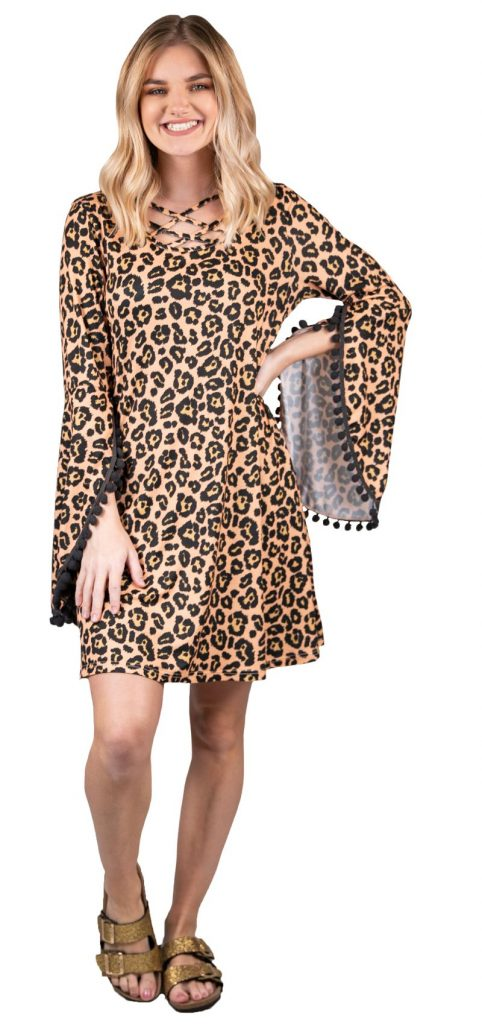 Simply Southern Leopard Cross Pom Dress