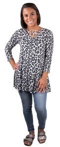 Simply Southern Snow Leopard Cross Neck Tunic