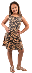 Simply Southern Cross Back Youth Leopard Dress