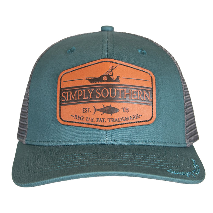Simply Southern Guys Leather Patch Deep Sea Hat
