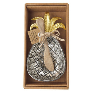 MUD PIE PINEAPPLE METAL BOWL SET