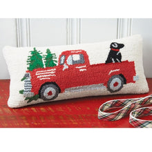 Load image into Gallery viewer, Mud Pie Red Truck With Dog Hooked Pillow
