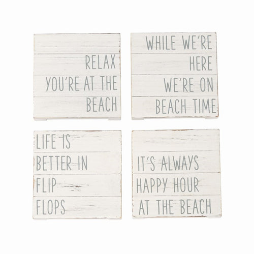 Mud Pie Planked Beach Coaster Set