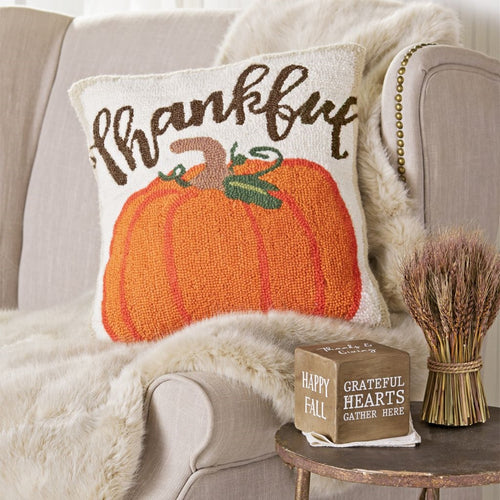 MUD PIE THANKFUL PUMPKIN HOOKED PILLOW