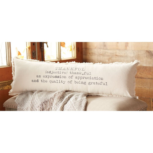 Mud Pie Washed Canvas Thankful Definition Pillow