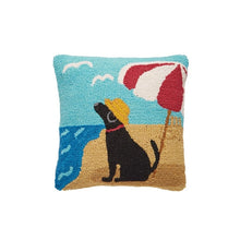 Load image into Gallery viewer, Mud Pie Beach Dog Hooked Pillow